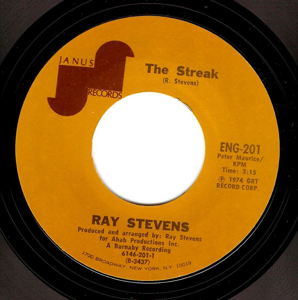 RAY STEVENS The Streak Vinyl Record 7 Inch US Janus 1974
